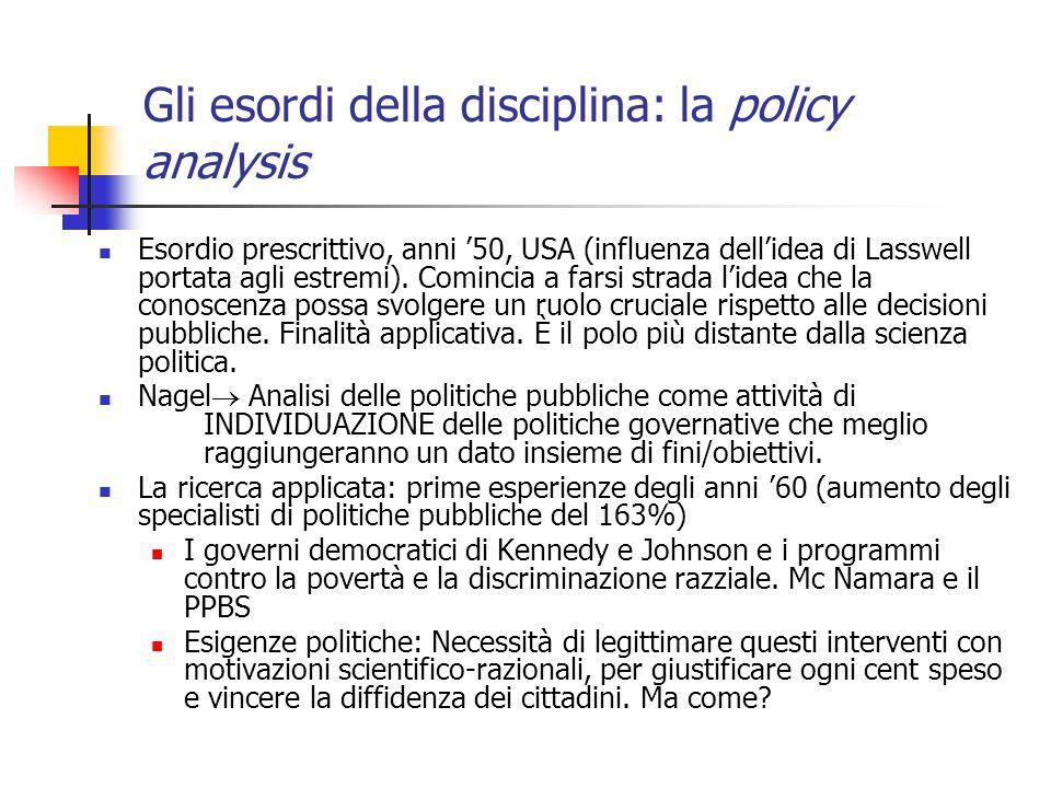 Gli esordi della disciplina: la policy analysis