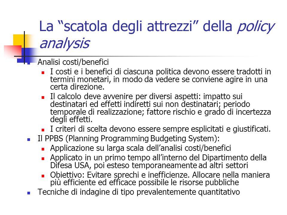 La scatola degli attrezzi della policy analysis