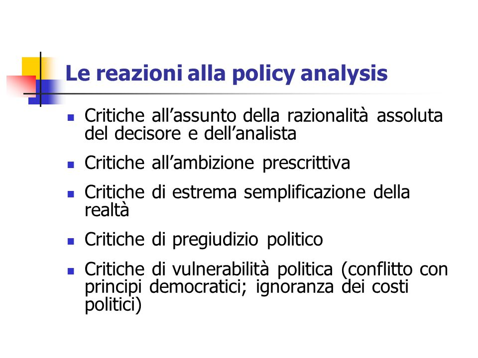 Le reazioni alla policy analysis