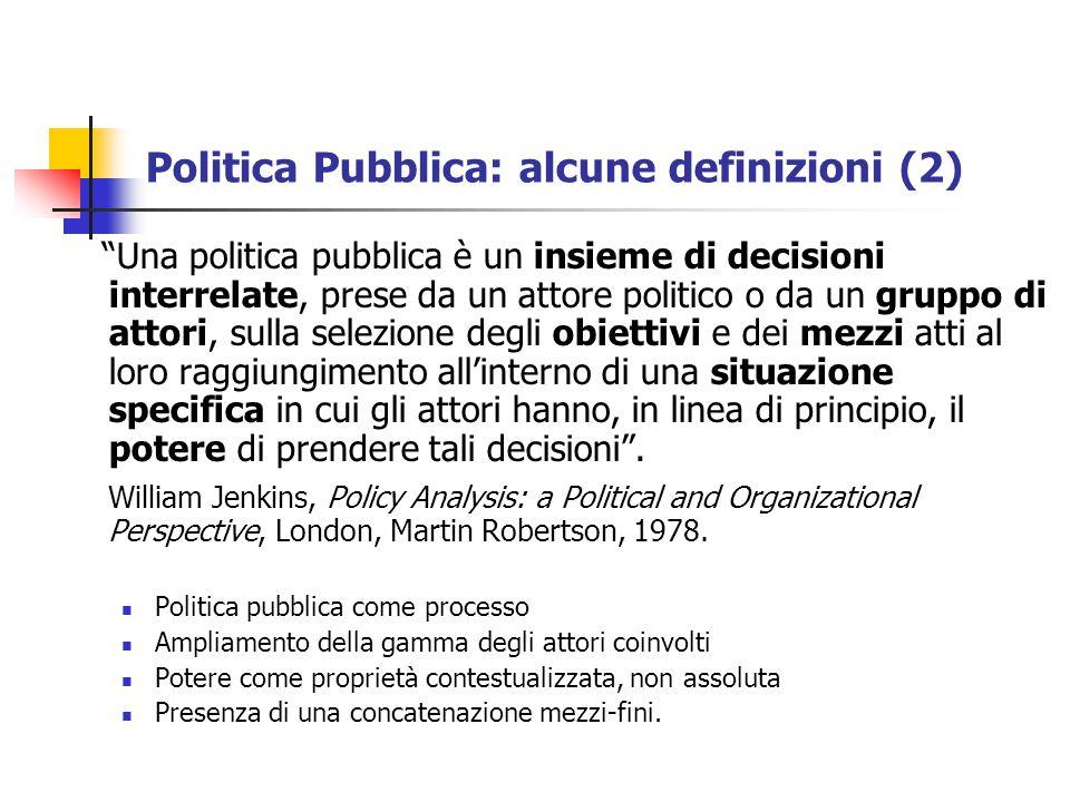 Politica Pubblica: alcune definizioni (2)