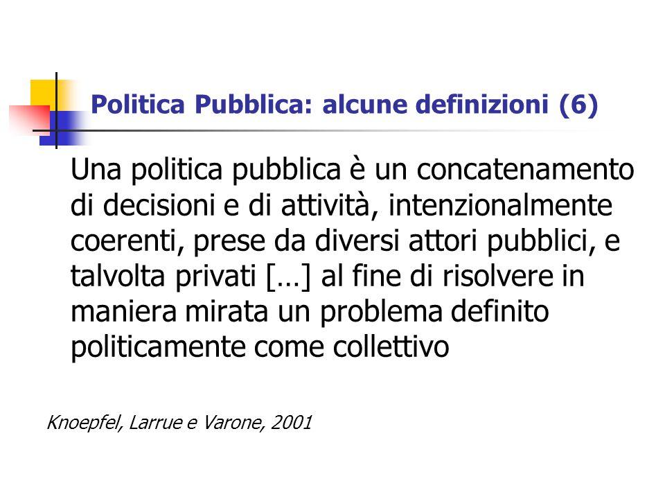 Politica Pubblica: alcune definizioni (6)