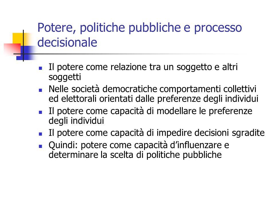 Potere, politiche pubbliche e processo decisionale