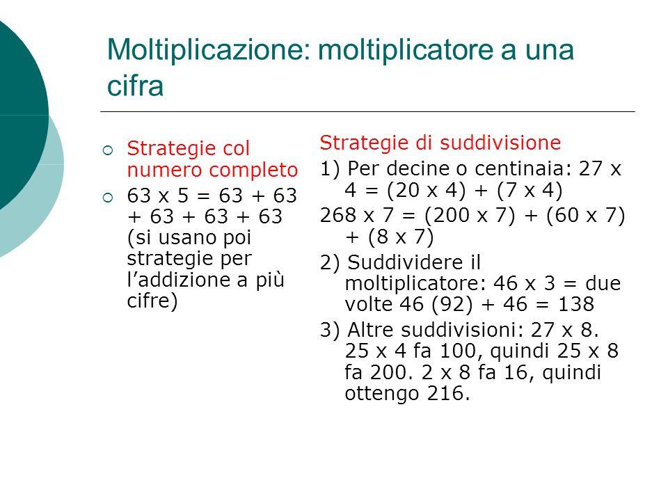 Moltiplicazione: moltiplicatore a una cifra