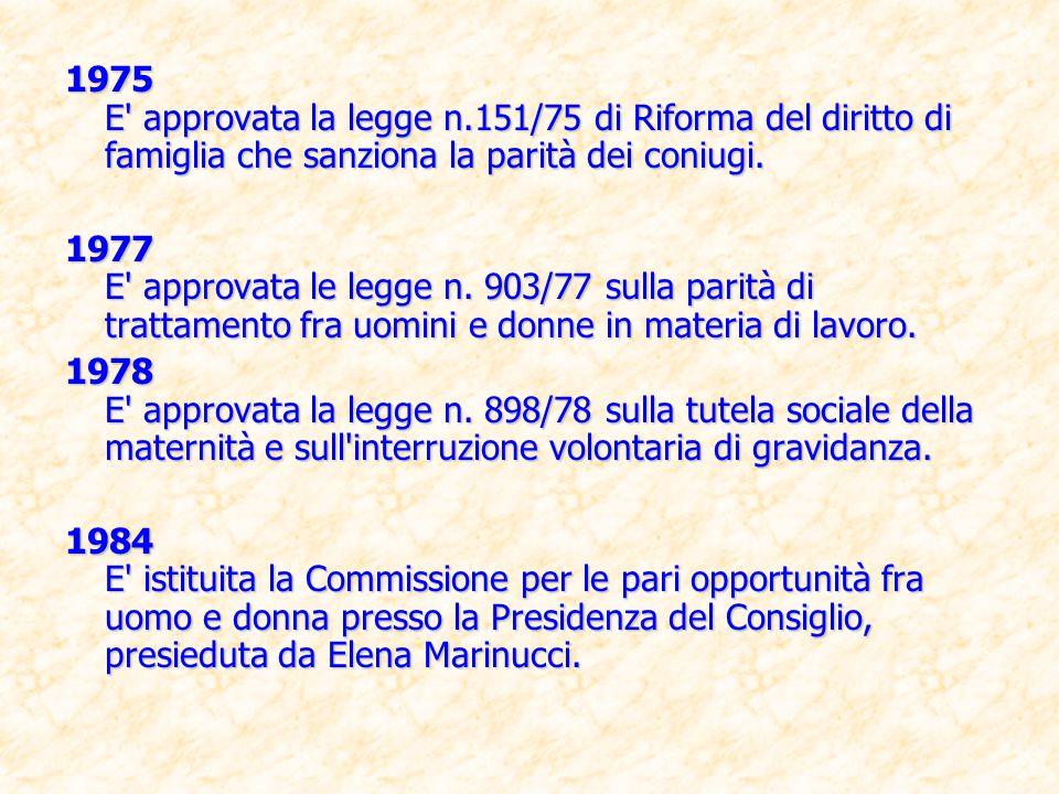 1975 E approvata la legge n.151/75 di Riforma del diritto di famiglia che sanziona la parità dei coniugi.