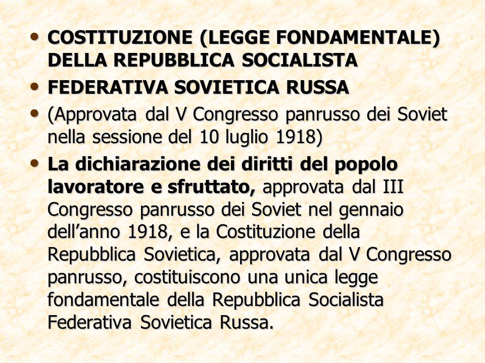 COSTITUZIONE (LEGGE FONDAMENTALE) DELLA REPUBBLICA SOCIALISTA