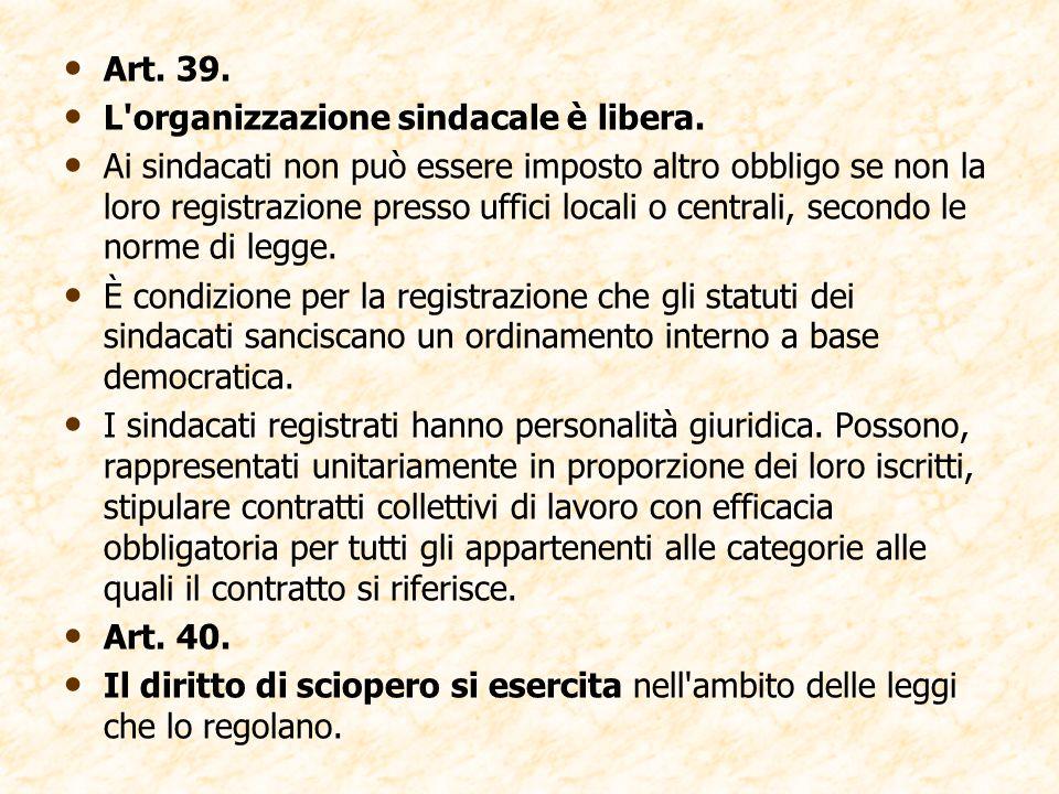 Art. 39. L organizzazione sindacale è libera.