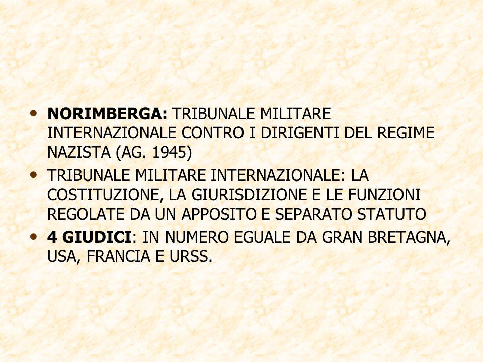 NORIMBERGA: TRIBUNALE MILITARE INTERNAZIONALE CONTRO I DIRIGENTI DEL REGIME NAZISTA (AG. 1945)