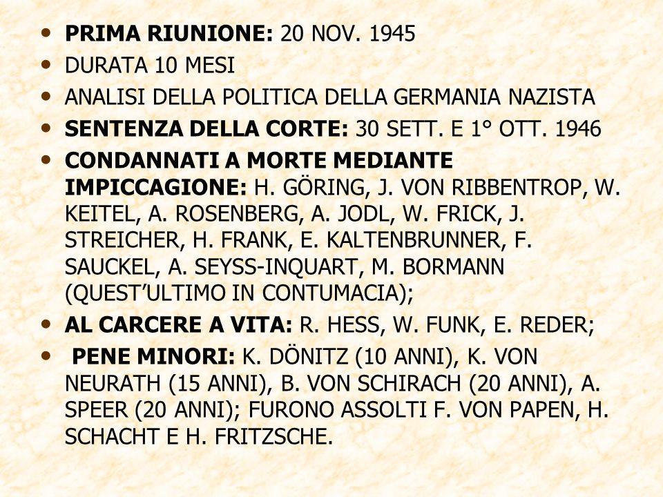 PRIMA RIUNIONE: 20 NOV. 1945 DURATA 10 MESI. ANALISI DELLA POLITICA DELLA GERMANIA NAZISTA. SENTENZA DELLA CORTE: 30 SETT. E 1° OTT. 1946.