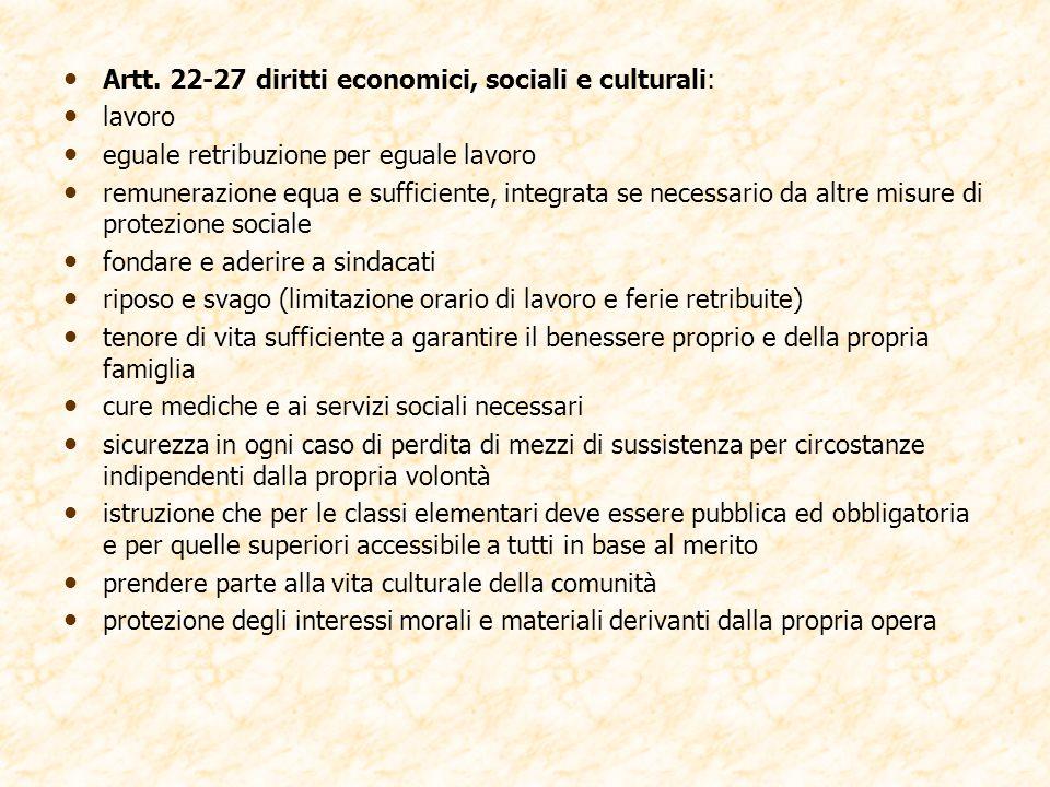 Artt. 22-27 diritti economici, sociali e culturali: