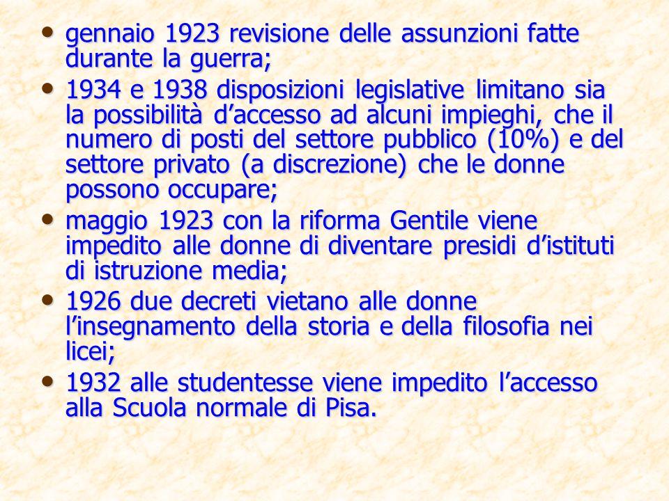gennaio 1923 revisione delle assunzioni fatte durante la guerra;