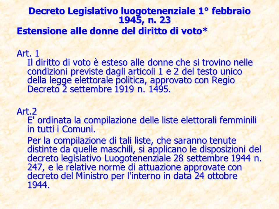 Decreto Legislativo luogotenenziale 1° febbraio 1945, n. 23