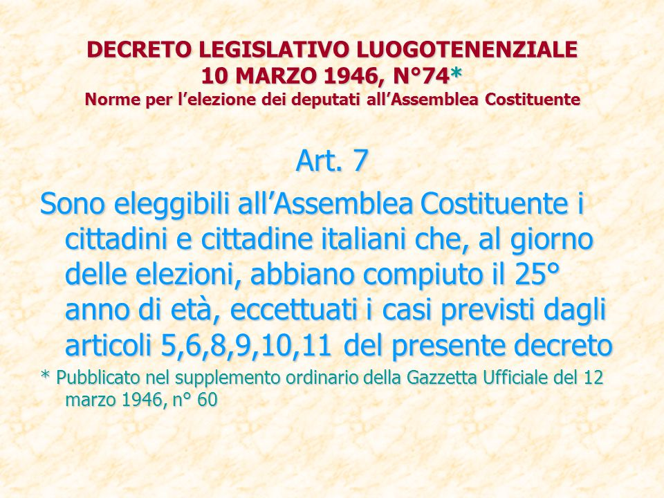 DECRETO LEGISLATIVO LUOGOTENENZIALE 10 MARZO 1946, N°74
