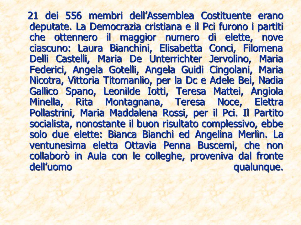 21 dei 556 membri dell'Assemblea Costituente erano deputate
