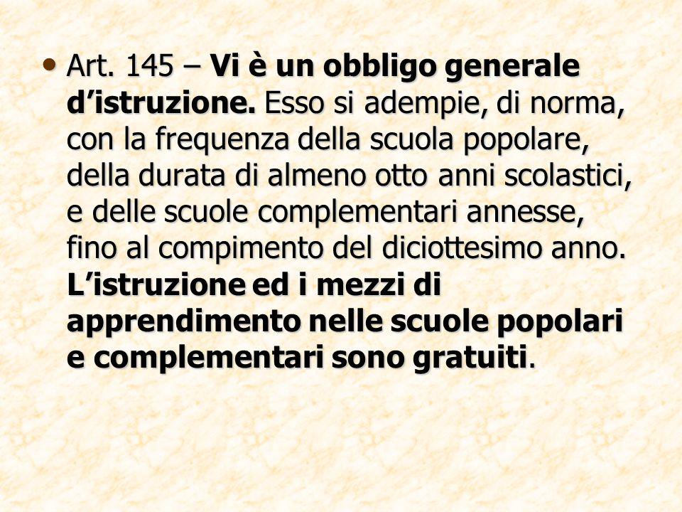 Art. 145 – Vi è un obbligo generale d'istruzione