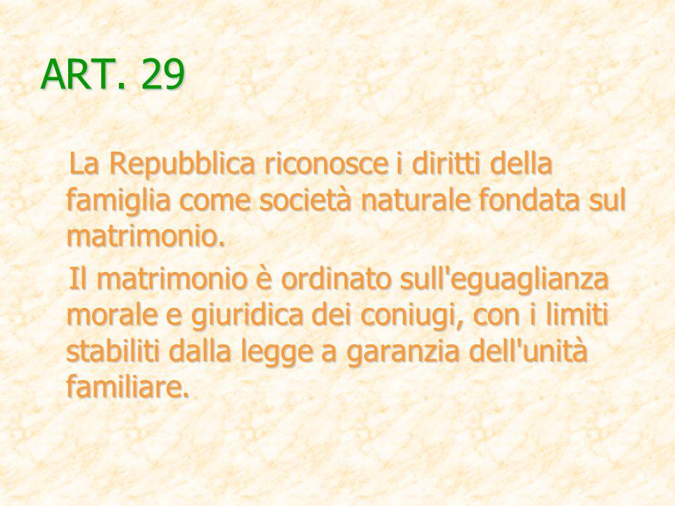 ART. 29 La Repubblica riconosce i diritti della famiglia come società naturale fondata sul matrimonio.