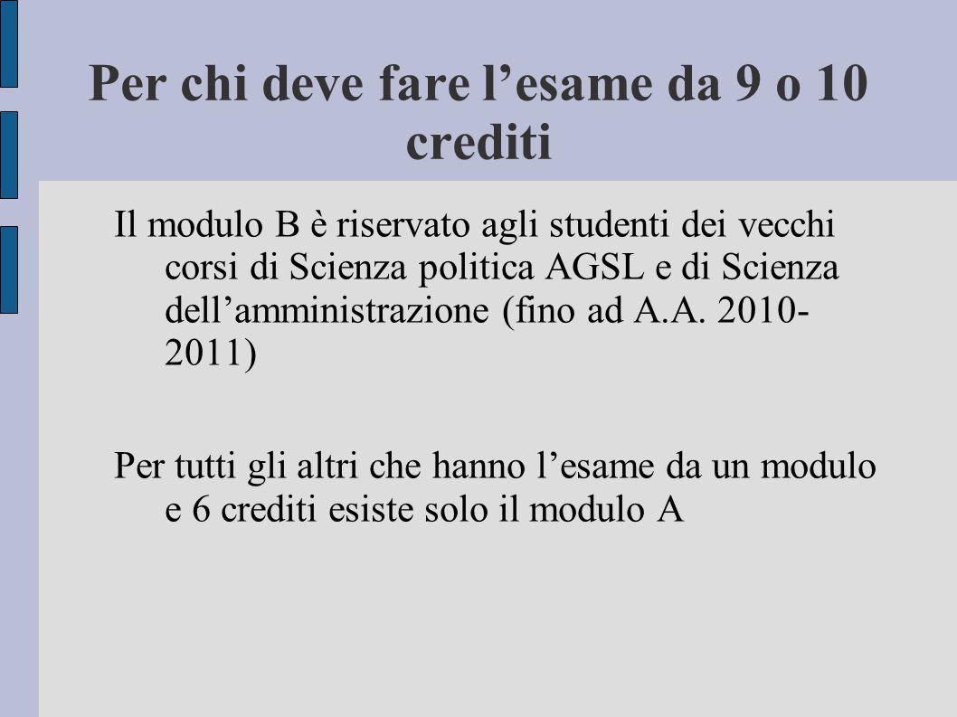 Per chi deve fare l'esame da 9 o 10 crediti