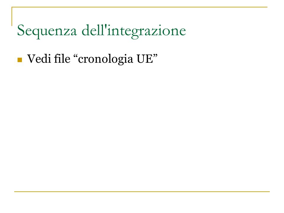 Sequenza dell integrazione