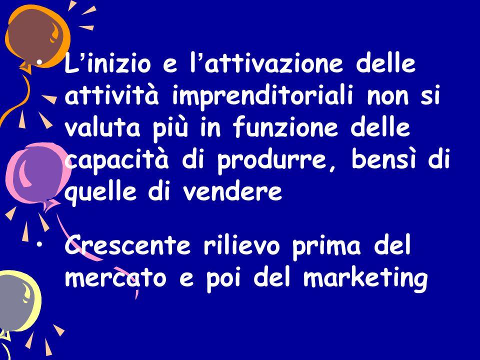 L'inizio e l'attivazione delle attività imprenditoriali non si valuta più in funzione delle capacità di produrre, bensì di quelle di vendere