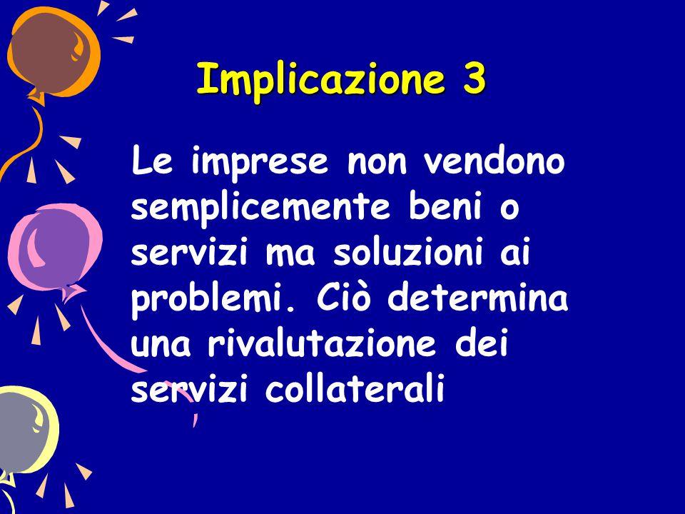 Implicazione 3 Le imprese non vendono semplicemente beni o servizi ma soluzioni ai problemi.