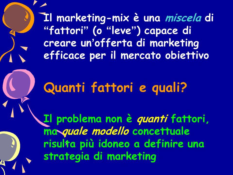 Il marketing-mix è una miscela di fattori (o leve ) capace di creare un'offerta di marketing efficace per il mercato obiettivo