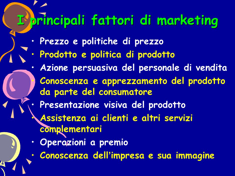 I principali fattori di marketing