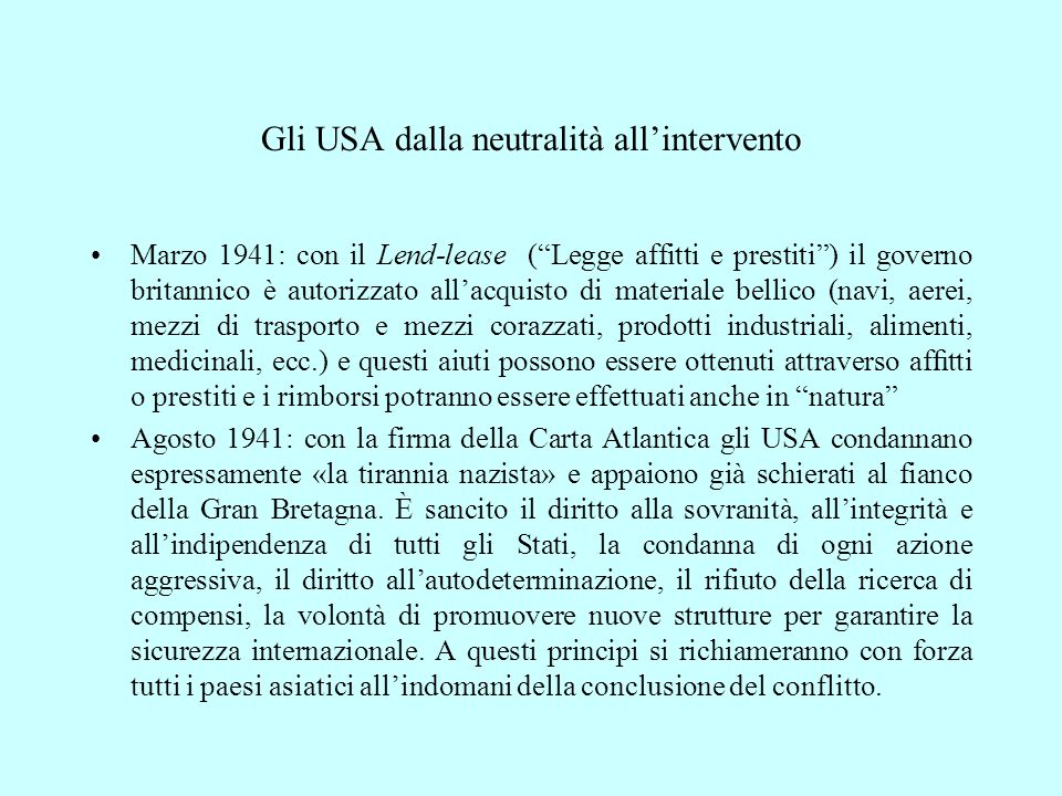 Gli USA dalla neutralità all'intervento