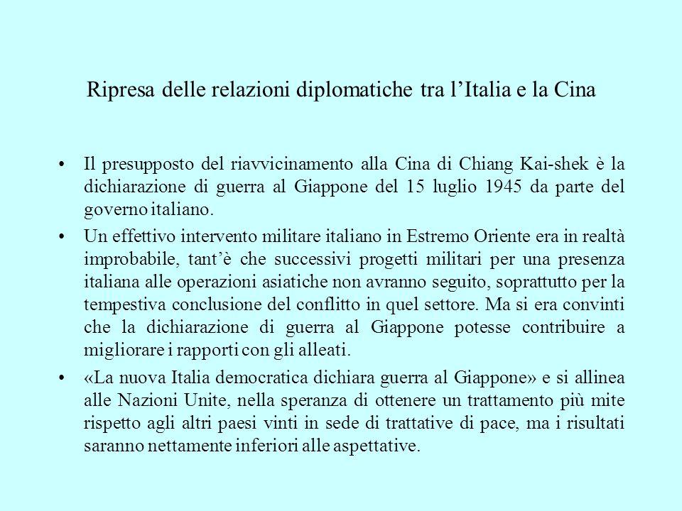 Ripresa delle relazioni diplomatiche tra l'Italia e la Cina
