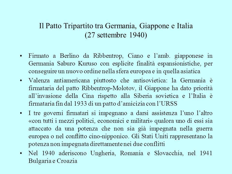Il Patto Tripartito tra Germania, Giappone e Italia (27 settembre 1940)