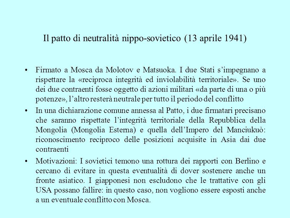 Il patto di neutralità nippo-sovietico (13 aprile 1941)