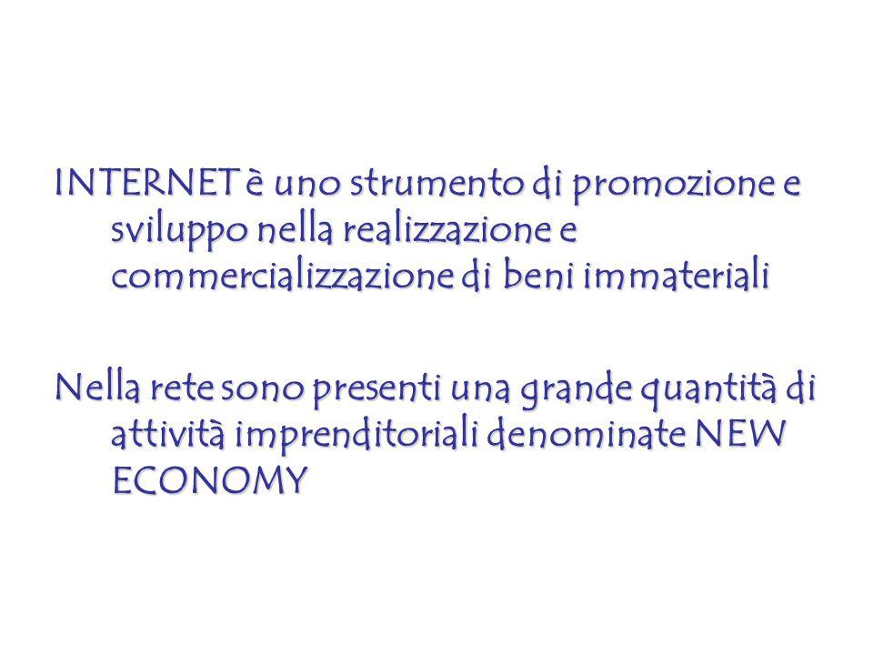 INTERNET è uno strumento di promozione e sviluppo nella realizzazione e commercializzazione di beni immateriali