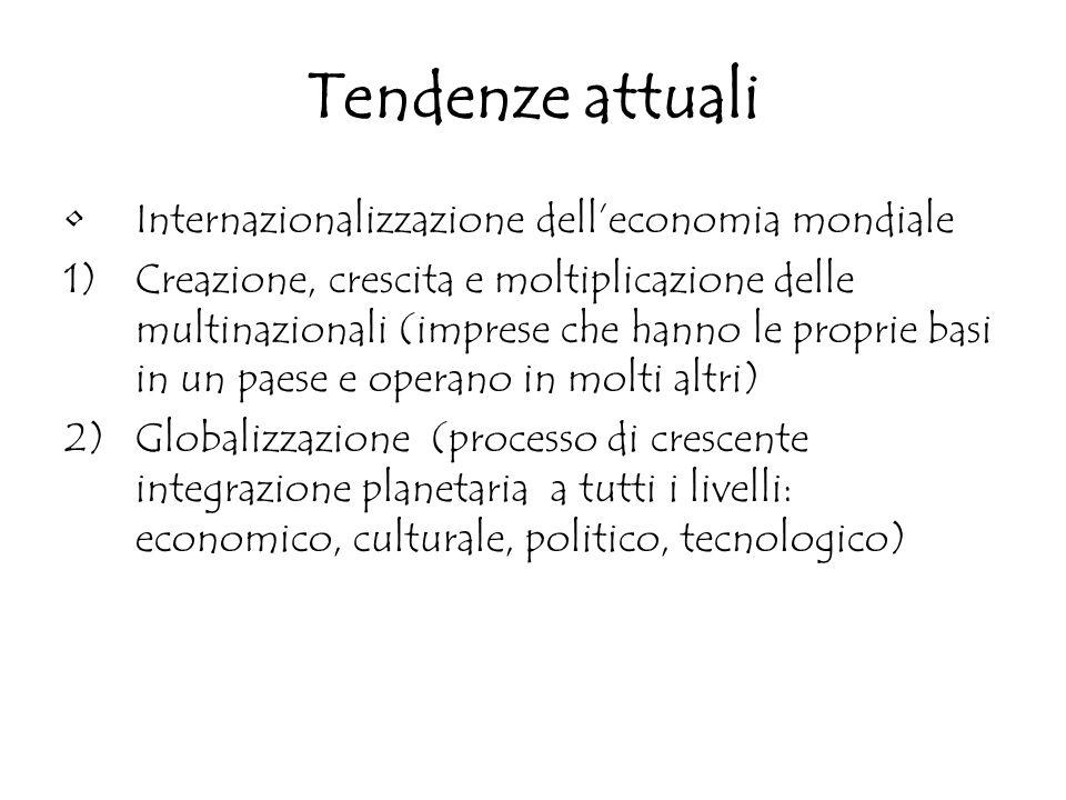 Tendenze attuali Internazionalizzazione dell'economia mondiale