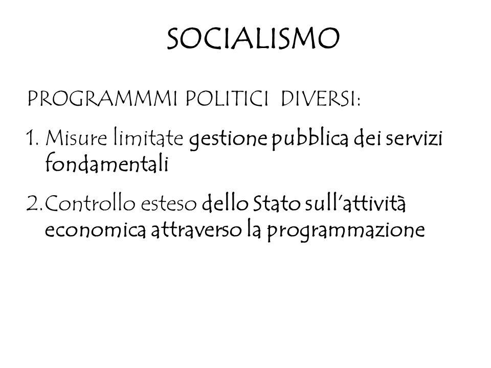 SOCIALISMO PROGRAMMMI POLITICI DIVERSI: