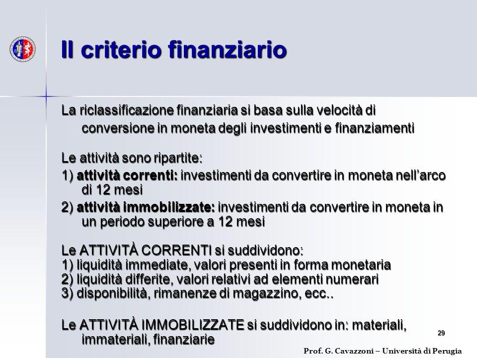 Il criterio finanziario