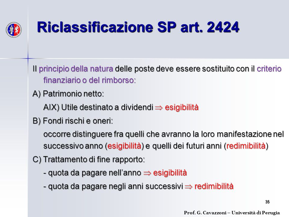 Riclassificazione SP art. 2424