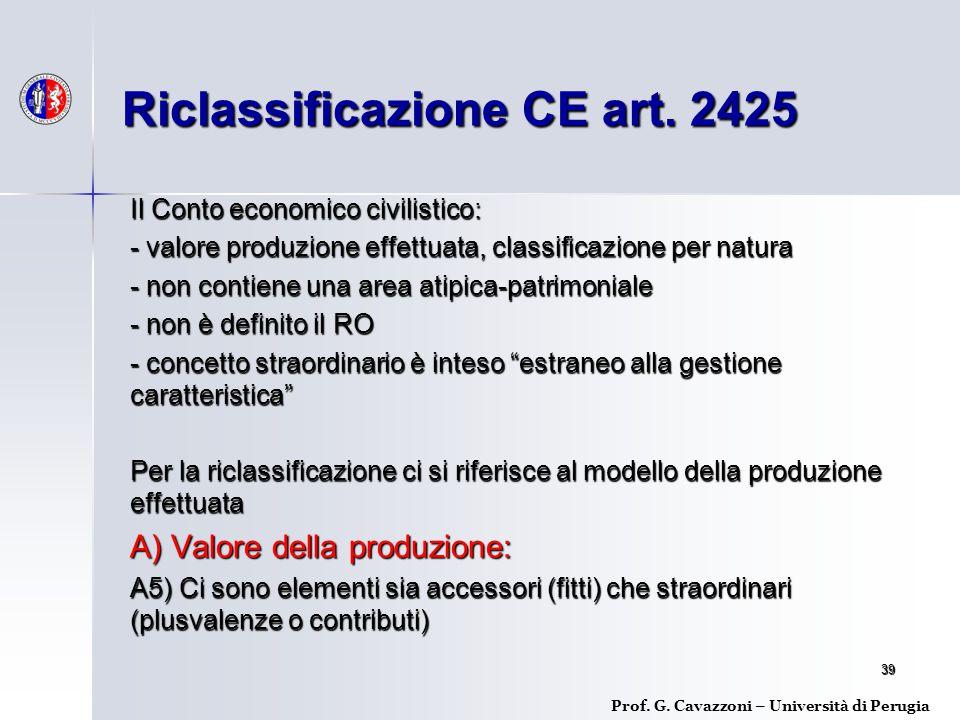 Riclassificazione CE art. 2425