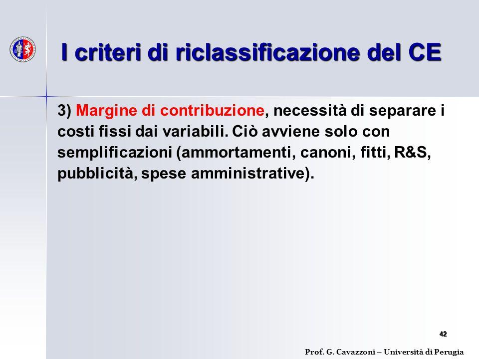 I criteri di riclassificazione del CE