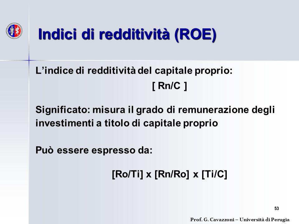 Indici di redditività (ROE)