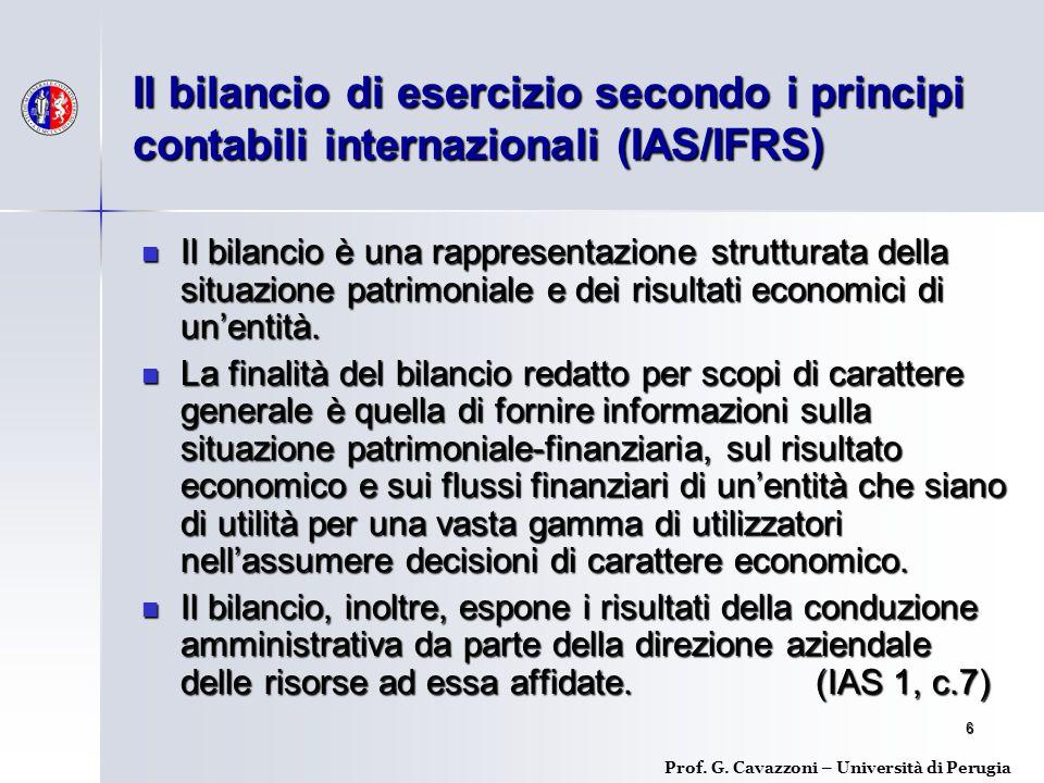 Il bilancio di esercizio secondo i principi contabili internazionali (IAS/IFRS)