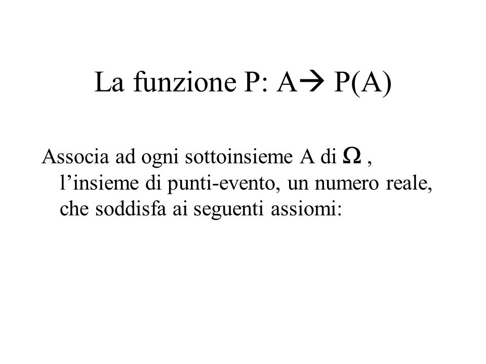 La funzione P: A P(A) Associa ad ogni sottoinsieme A di W , l'insieme di punti-evento, un numero reale, che soddisfa ai seguenti assiomi: