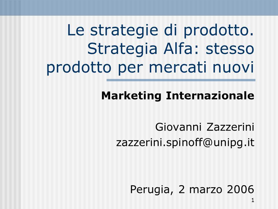 Le strategie di prodotto