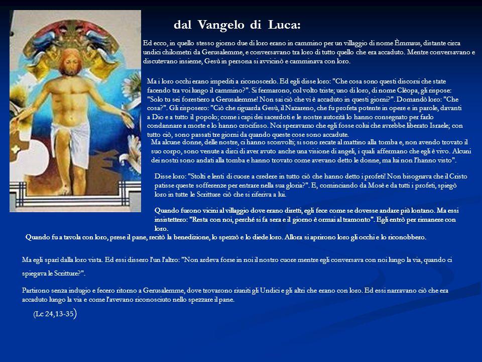 dal Vangelo di Luca: (Lc 24,13-35)