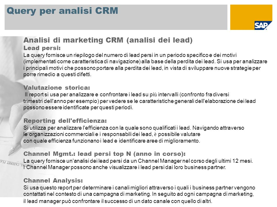 Query per analisi CRM Analisi di marketing CRM (analisi dei lead)