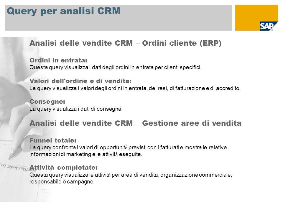 Query per analisi CRM Analisi delle vendite CRM – Ordini cliente (ERP)