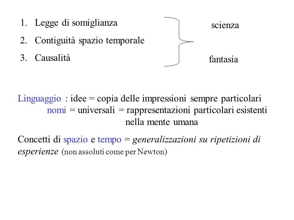 Legge di somiglianza Contiguità spazio temporale. Causalità. scienza. fantasia.