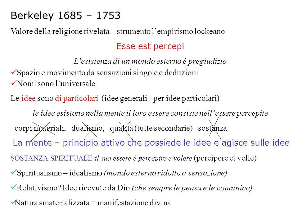 Berkeley 1685 – 1753 Valore della religione rivelata – strumento l'empirismo lockeano. Esse est percepi.