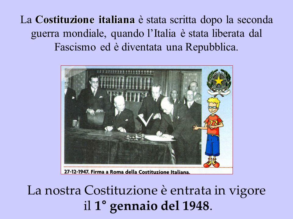 La nostra Costituzione è entrata in vigore