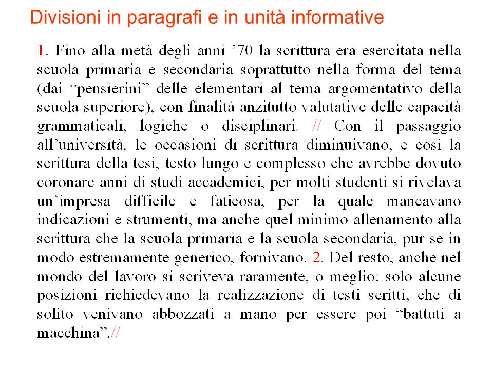 Divisioni in paragrafi e in unità informative
