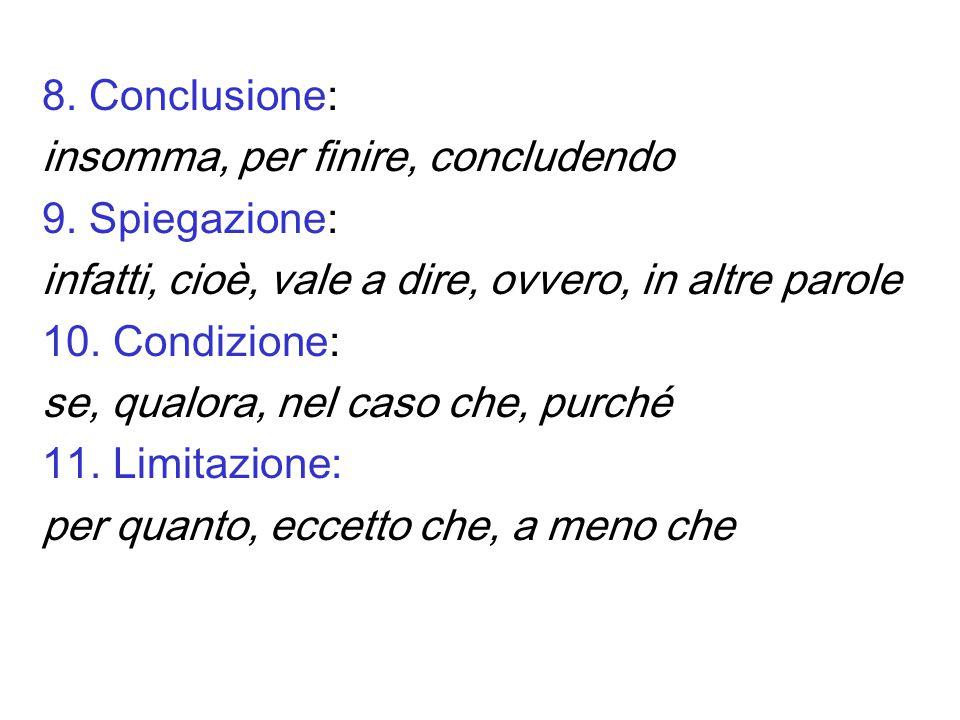 8. Conclusione: insomma, per finire, concludendo. 9. Spiegazione: infatti, cioè, vale a dire, ovvero, in altre parole.