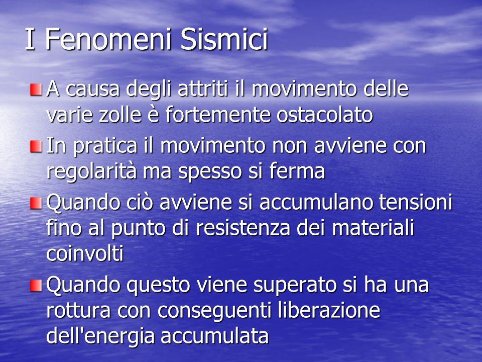I Fenomeni Sismici A causa degli attriti il movimento delle varie zolle è fortemente ostacolato.