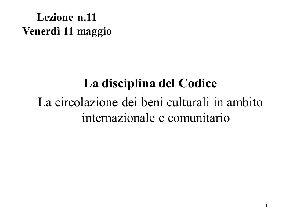 La disciplina del Codice